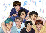 BTS OT7 Drawing - We are 7 (discounted commission) by alleriart