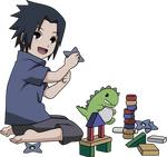 Cute Little Sasuke Playing
