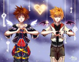 Sora Roxas Hearts by NixNovus