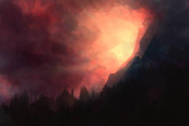 Speedpaint :: Mountain Sunrise by MissWiggle