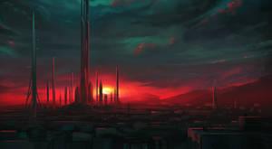 Speedpaint :: Cityscape at Sunset