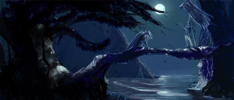 Sketch :: Moonlit Lovers by MissWiggle