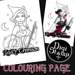 Lady Crimson Colouring Page