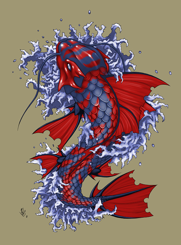 Koi fish tattoo by dhex on deviantart for Black dragon koi