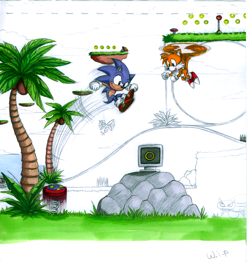 Sonic and Tails in Greenhill by icha-icha