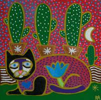 sad cat with cactus