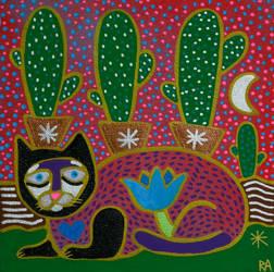 sad cat with cactus by arturasrozkovas