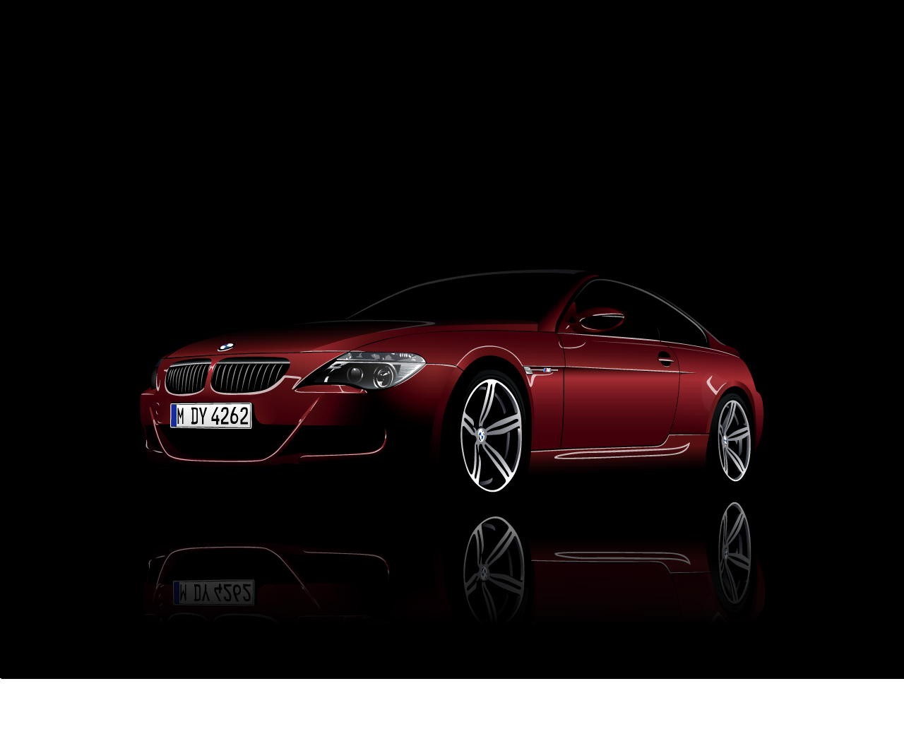 BMW M6 red vector reflection