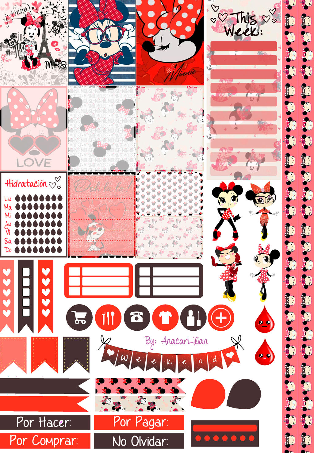Minnie Love - Printable Stickers by AnacarLilian on DeviantArt