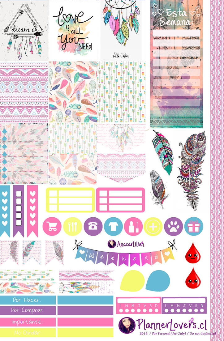 Tribal Rainbow-Free Printable Stickers 4 Planners by AnacarLilian on