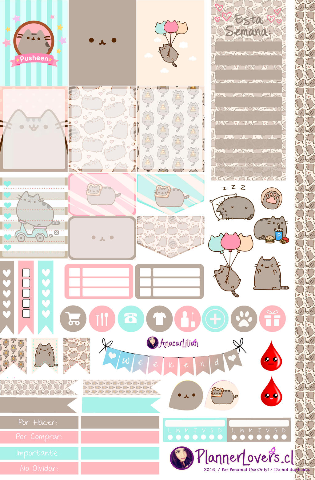 Pusheen Free Printable Stickers By Anacarlilian On
