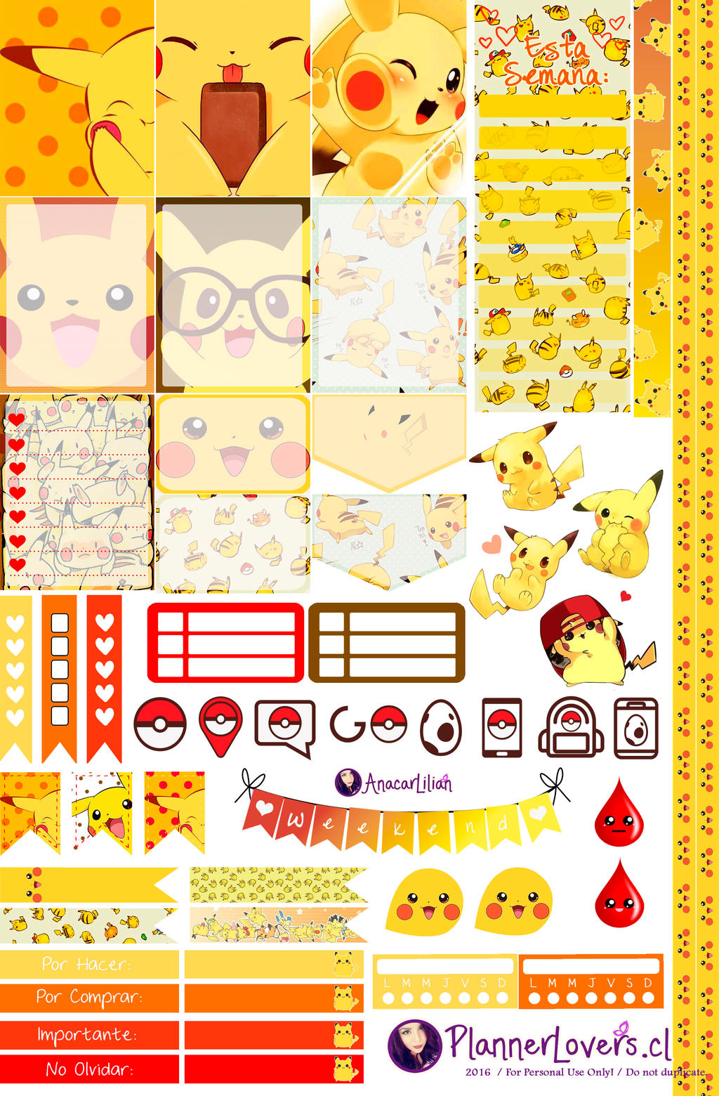 Pikachu Printable Stickers by AnacarLilian