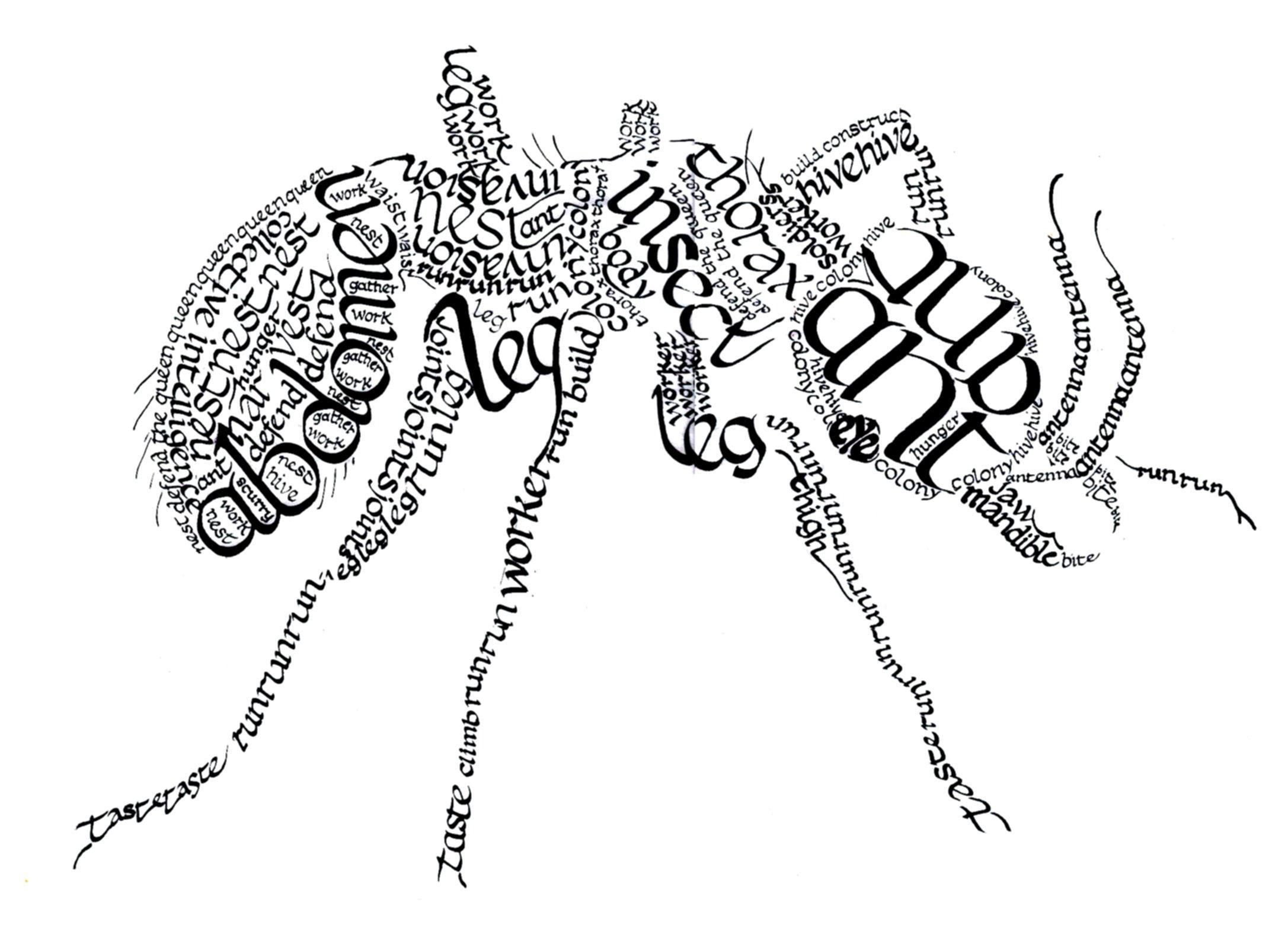 Calligram Ant by Inky-la-reve