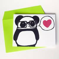 Nerdy Panda Love Greeting Card by Panduhmonium