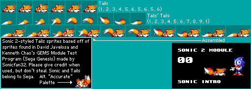 Sonic 2-styled GEMS Test Module sprites - Tails