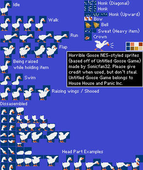 Untitled Goose Game NES-styled sprites