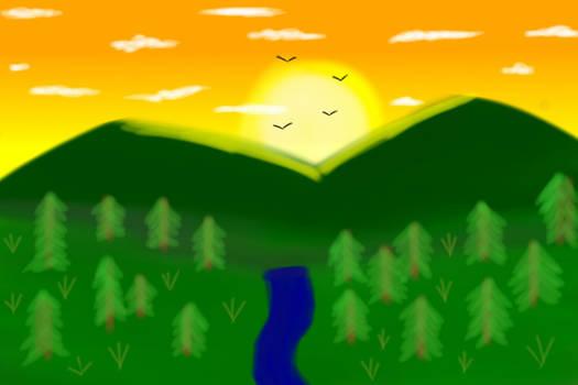 Mountain sun morning artist