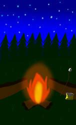 Night fire camping star