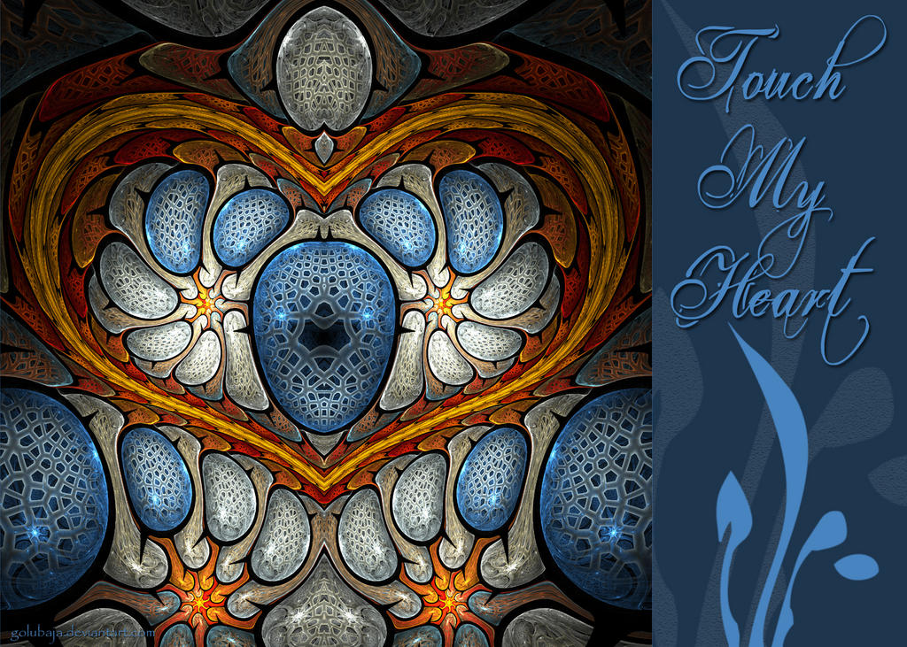 Touch My Heart - Blue - Card by Golubaja