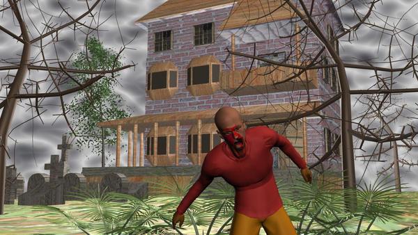 scarey house with zombie