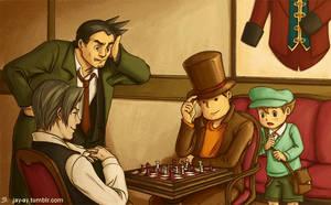 Layton VS Edgeworth: Battle of the Chessmasters by decembertiggerX