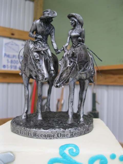 Two Trails Become One Road Wedding Cake Topper