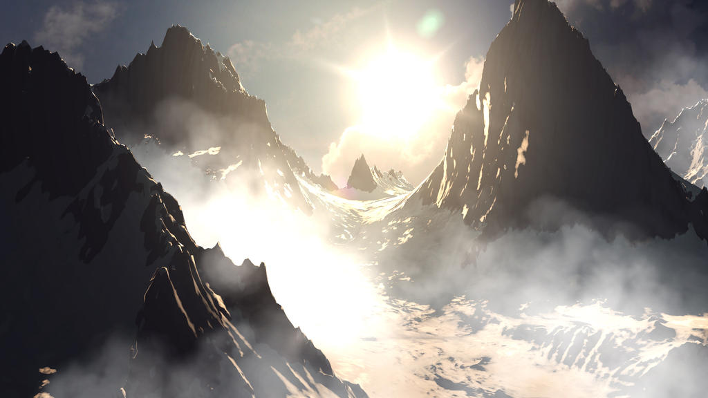 Snowy Mountains Painting Snowy mountains matte painting
