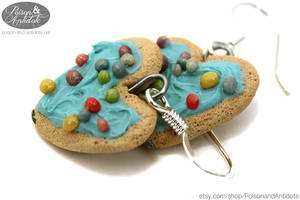 Iced Heart Cookie Earrings by chat-noir