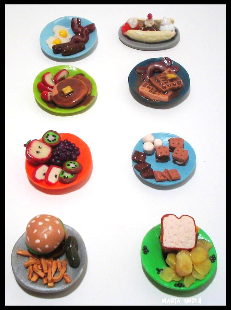 Tiny polymer clay foods by chat noir on deviantart for Polymere cuisine