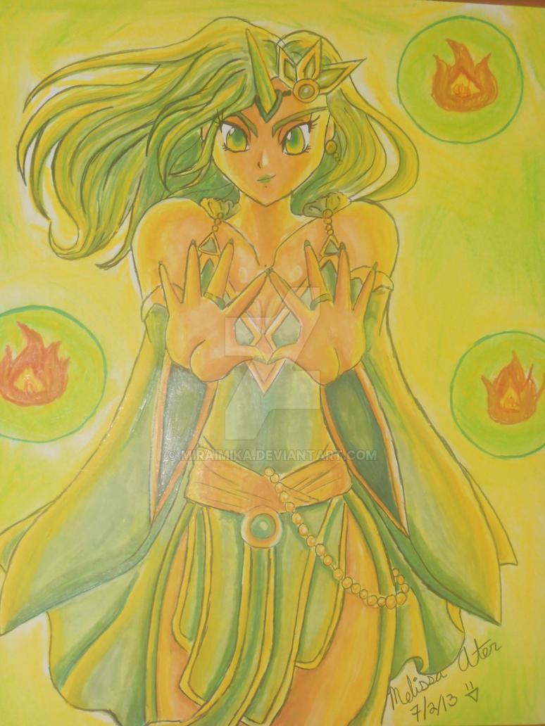 Rydia with horn summoning by MiraiMika