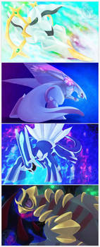 Four Gods of Sinnoh by RadiantGlyph
