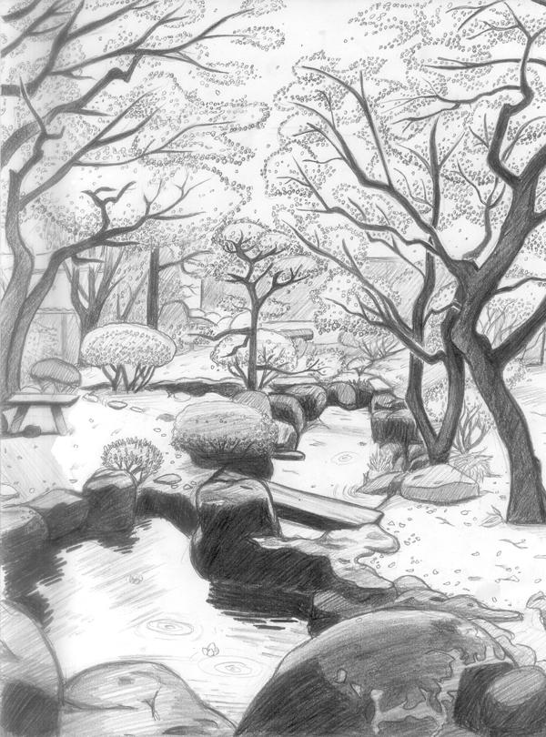 Line Drawing Garden : Landscaping japanese garden by fatalist on deviantart