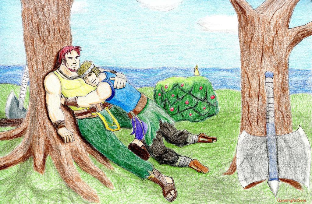Flo' classe... Les Chapitres de Fire Emblem Seven Dorcas_and_bartre_relaxing_by_gamingartseer-d64rwo8