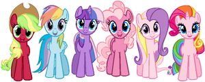 Mane 6 in G3 colors by ColossalStinker