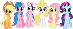 Mane 6 in G1 colors THIS IS JUST A RECOLOR!!! by ColossalStinker