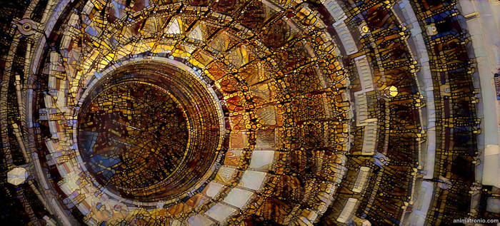 Large Hadron Collider meets stained glass windows