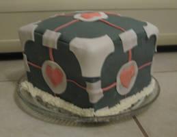 Companion Cube Cake by Kyra-Wolf
