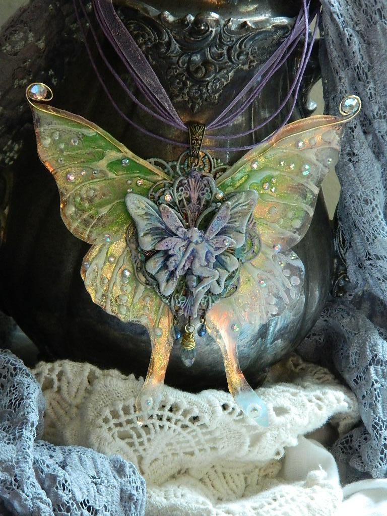 Luna Moth Fairy pendant by EMasqueradeGallery