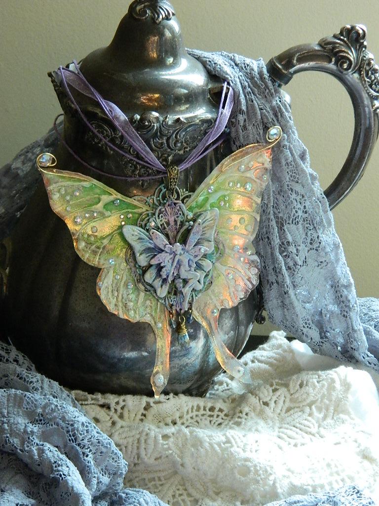 Luna Moth Fairy Pendant 2 by EMasqueradeGallery