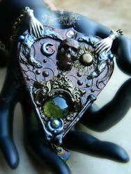 Ouija board planchette necklace in Copper by EMasqueradeGallery