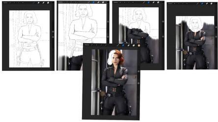 Scarlett Johanson in-progress images by Luis04
