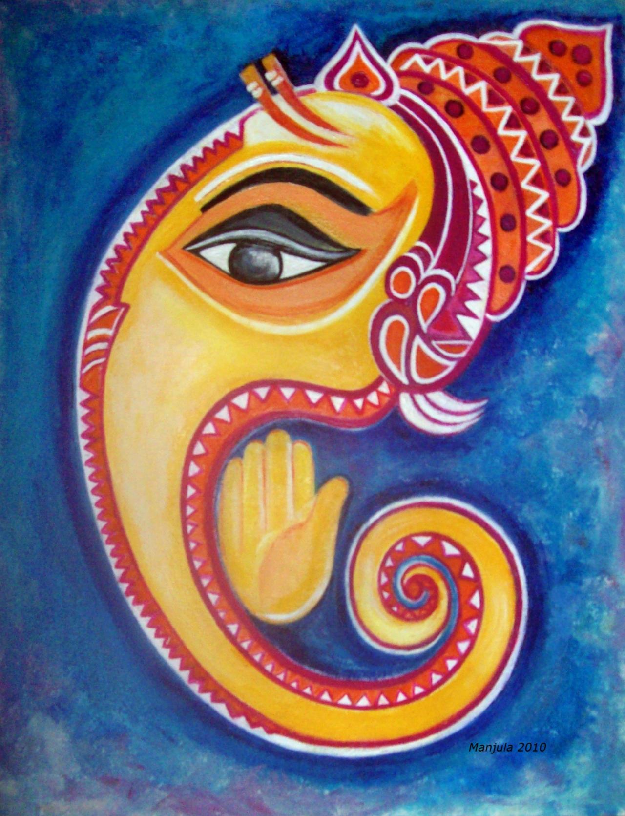 Lord Ganesha Paintings Using Marathi Fonts