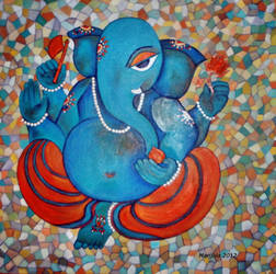 Ganesha on Tiles by manjulak