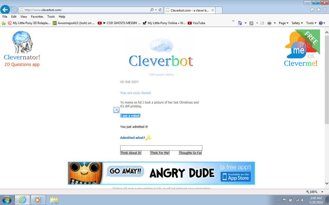 Cleverbot admits it's a robot! by spiffyspitz on DeviantArt