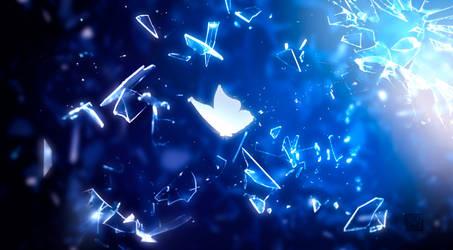 Butterfly through broken glass