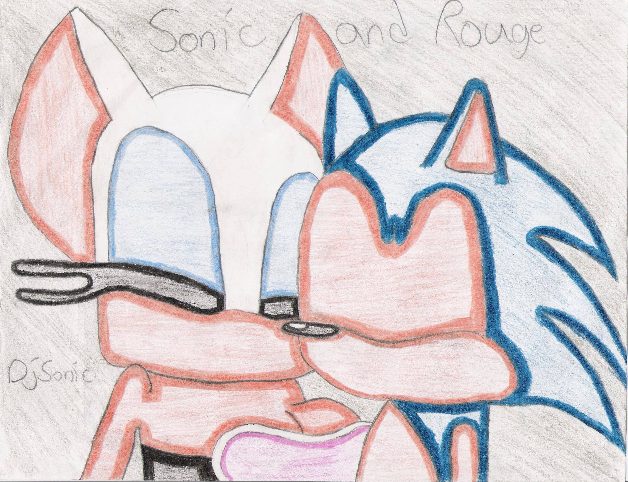 Sonic and Rouge kissing-color- by Sonouge