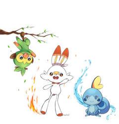Pokemon Sword and Shield Starter by NezhieI
