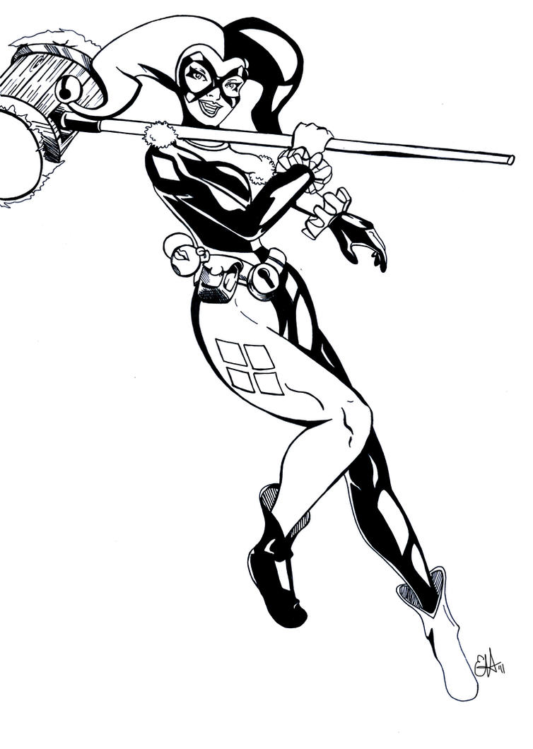 Harley quinn by starstream01 on deviantart for Harley quinn coloring pages