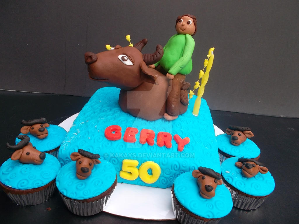 Philippine CARABAO Buffalo And A Farmer CAKE By KakayS On DeviantArt - Buffalo birthday cake