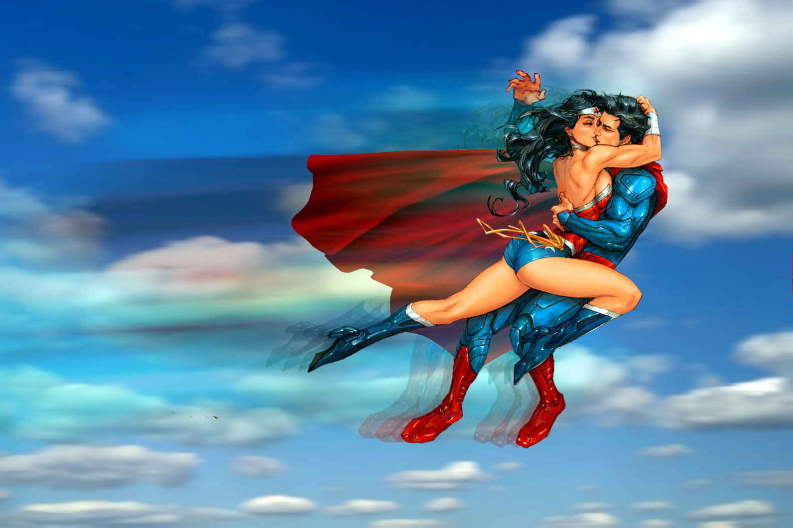 Superman and Wonder Woman: Ramming kiss
